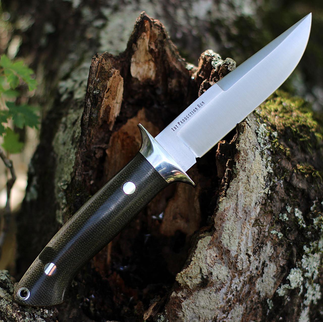 "Bark River Knives Chute Knife 07152MGC, 4.25"" CPM-154 Drop Point Plain Blade, Green Canvas Handle"