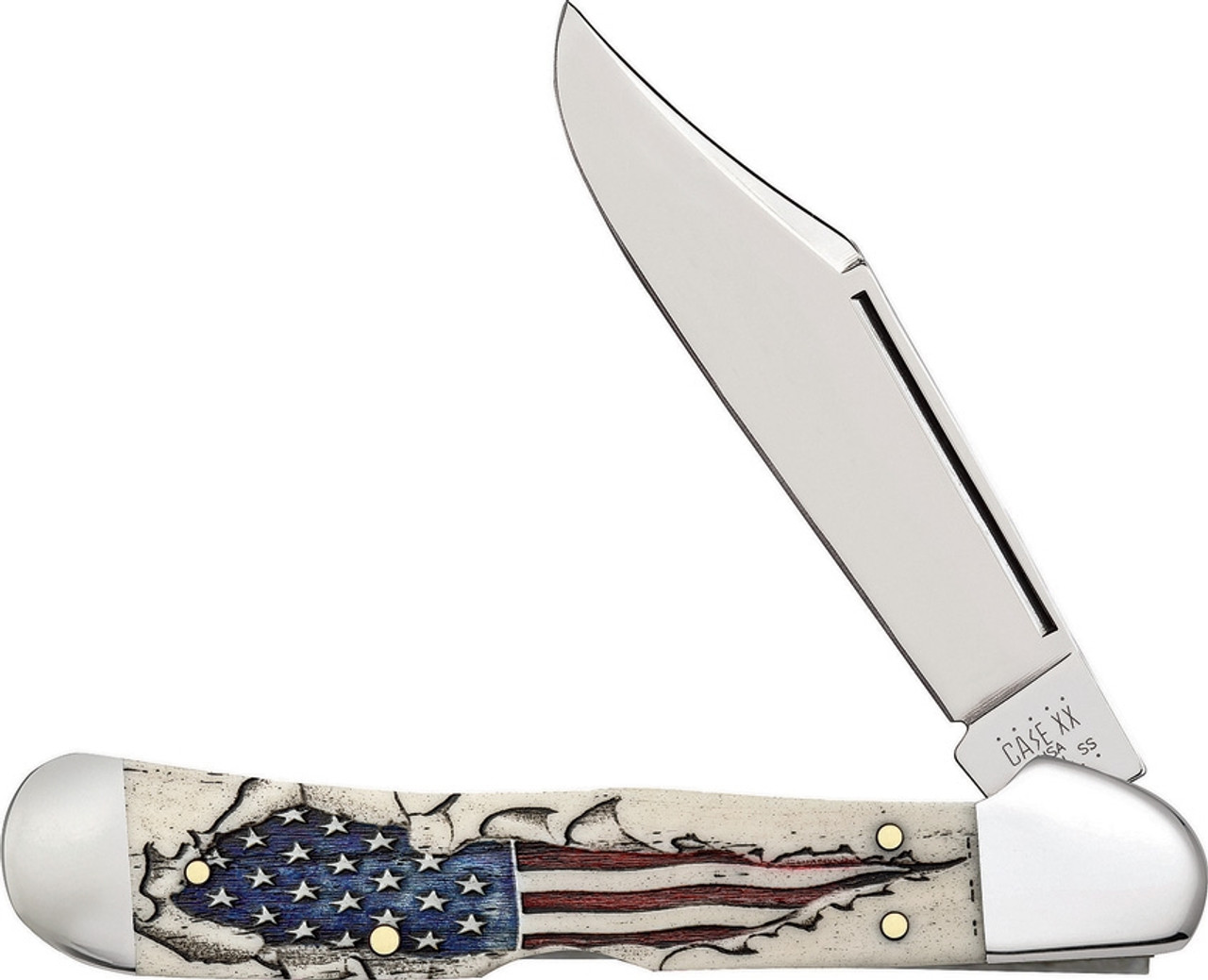 Case Copperlock 10451 Smooth Natural Bone Handle with Flag (2020SS)