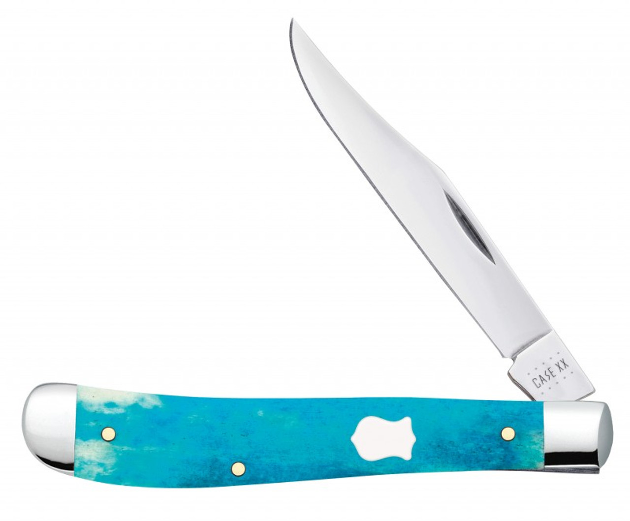 Case Slimline Trapper 50668 Smooth Caribbean Blue Bone Handle (61048 SS)