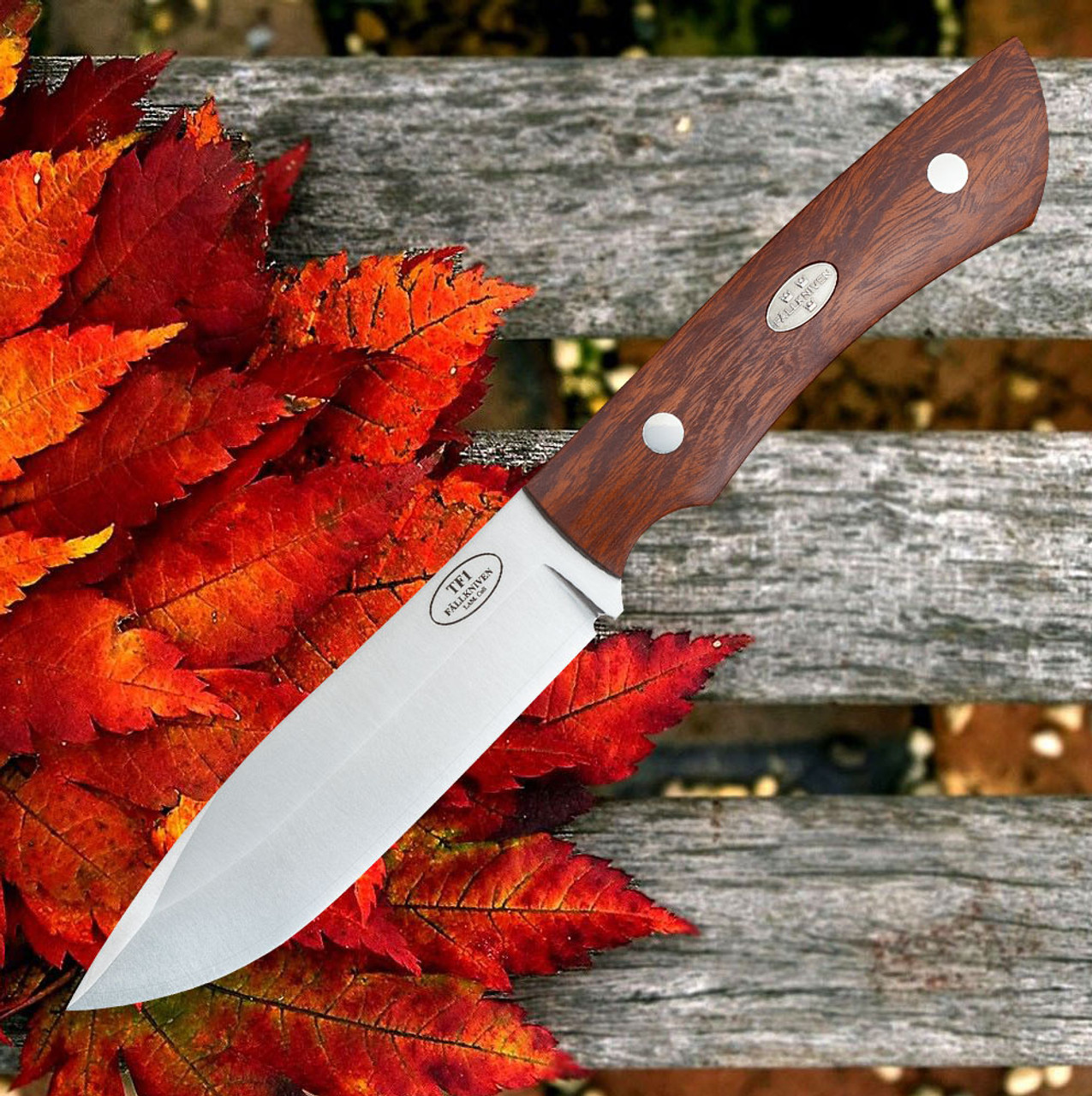 "Fallkniven Taiga Forester 1, 4.75"" Lam. CoS Plain Blade, Desert Ironwood Handle w/ Zytel Sheath"