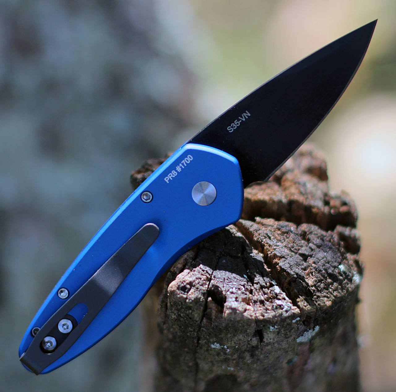 "ProTech 2907-Blue Sprint, 2"" S35VN Spear Point Black Blade, Blue Aluminum Handle"
