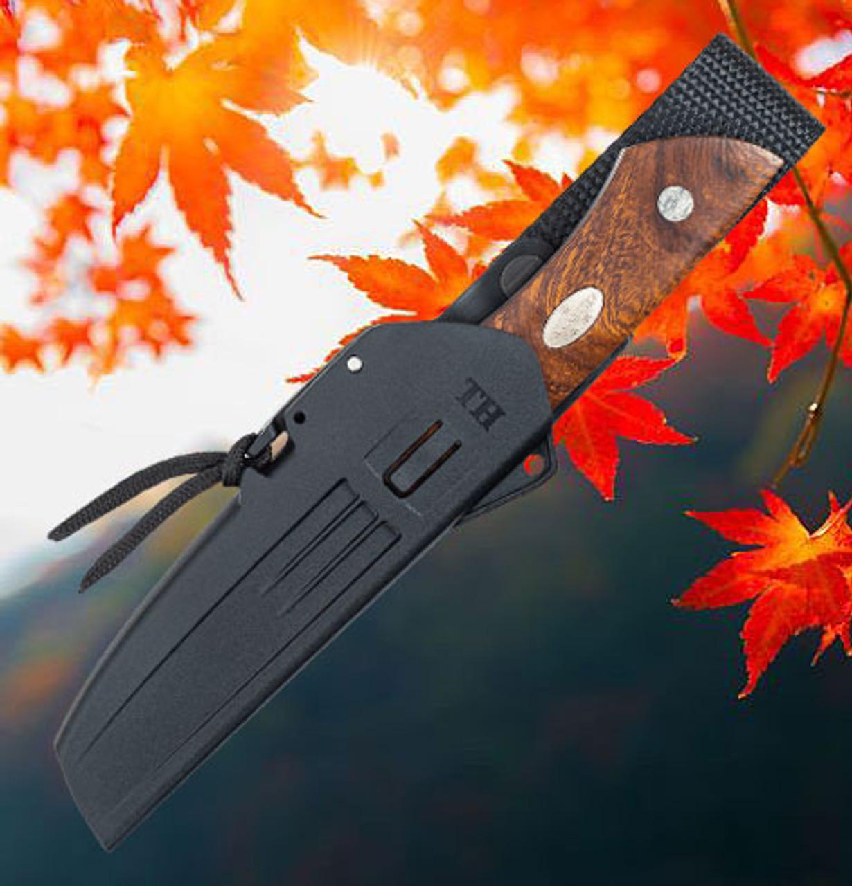 "Fallkniven Taiga Hunter 1, 3.30"" Lam. CoS Plain Blade, Desert Ironwood Handle w/ Zytel Sheath"