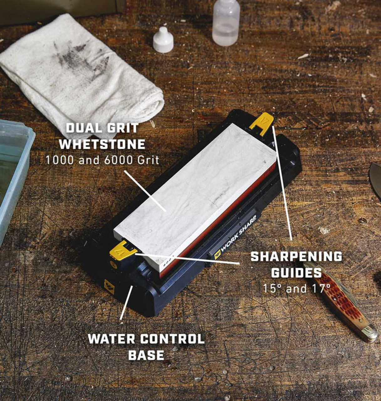 Work Sharp Angle Guided Benchtop Whetstone Sharpening System - WSBCHWHT