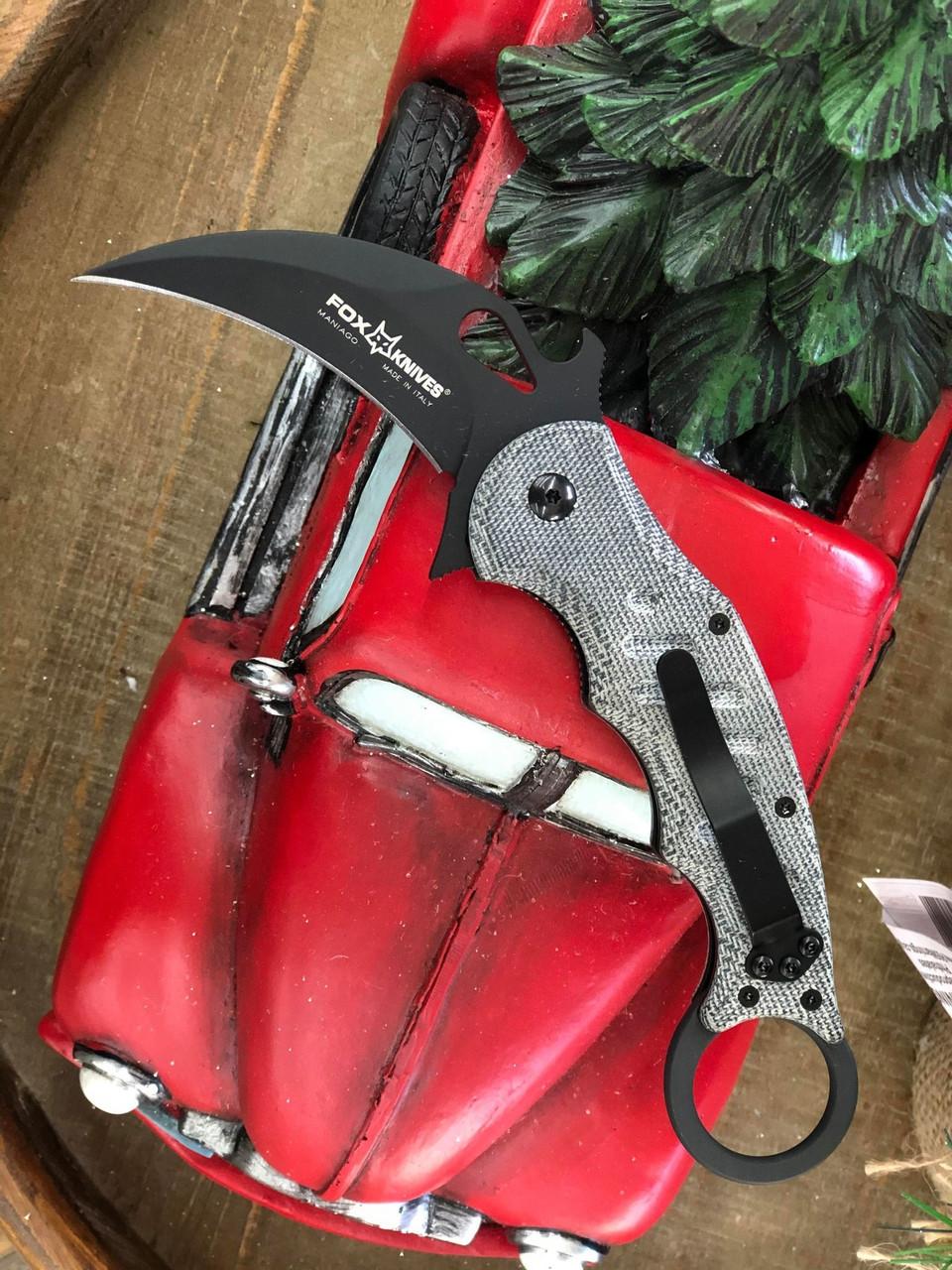 """Fox Knives Folding Karambit 479, 3.2"""" N690Co Black Hawkbill Blade, Black Micarta Handle"""