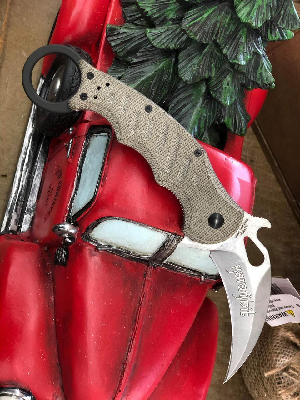 "Fox Knives Folding Karambit 479, 3.2"" N690Co Stonewashed Hawkbill Blade, Green Micarta Handle"