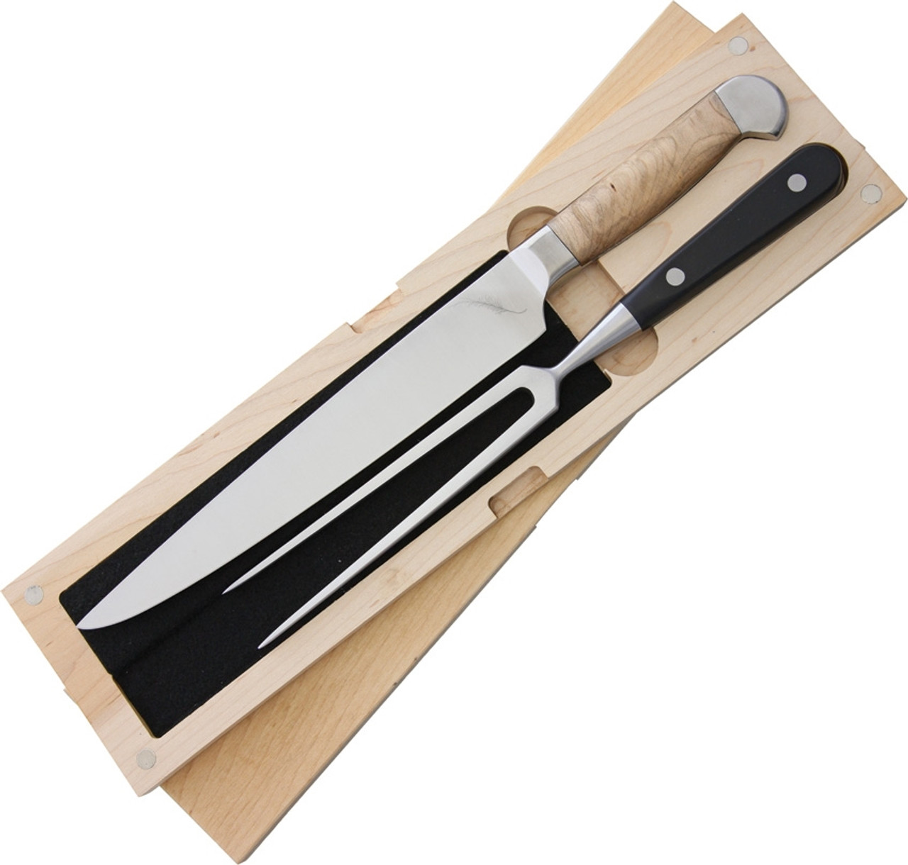 "Ferrum Estate 2pc Carving Set, 13.63"" Length w/9.0"" American Steel Blade, Maple Wood Handle"