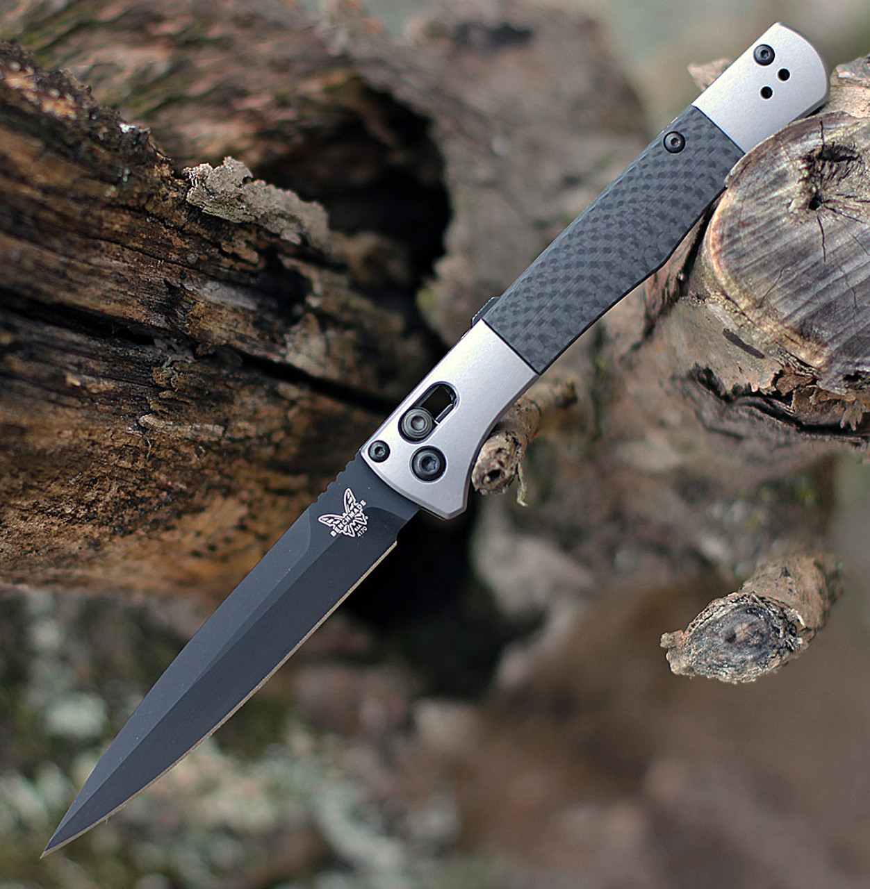 """Benchmade 4170BK Auto Fact, 3.95"""" Black DLC Coated CPM-S90V Spear-point Blade, Aluminum w/Carbon Fiber inlays Handle"""