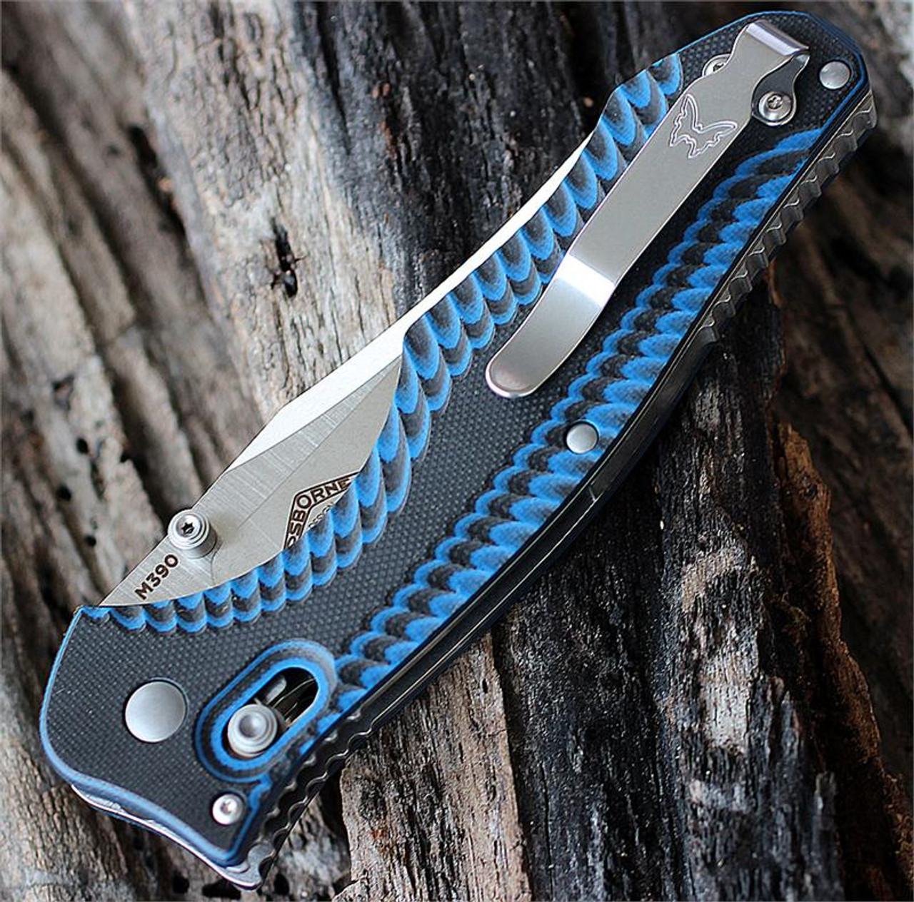 "Benchmade BM810-1401 Contego, 3.9"" M390 SS Plain Blade, Blue/Black G-10 Handle"