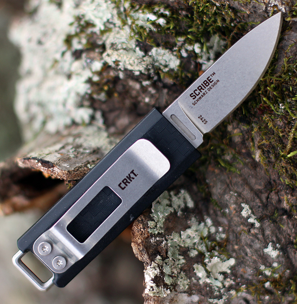 """CRKT 2425 Scribe Fixed Blade, 1.74"""" 5Cr15MoV Stonewshed Plain Blade, ABS Thermoplastic Handle w/ Sheath"""