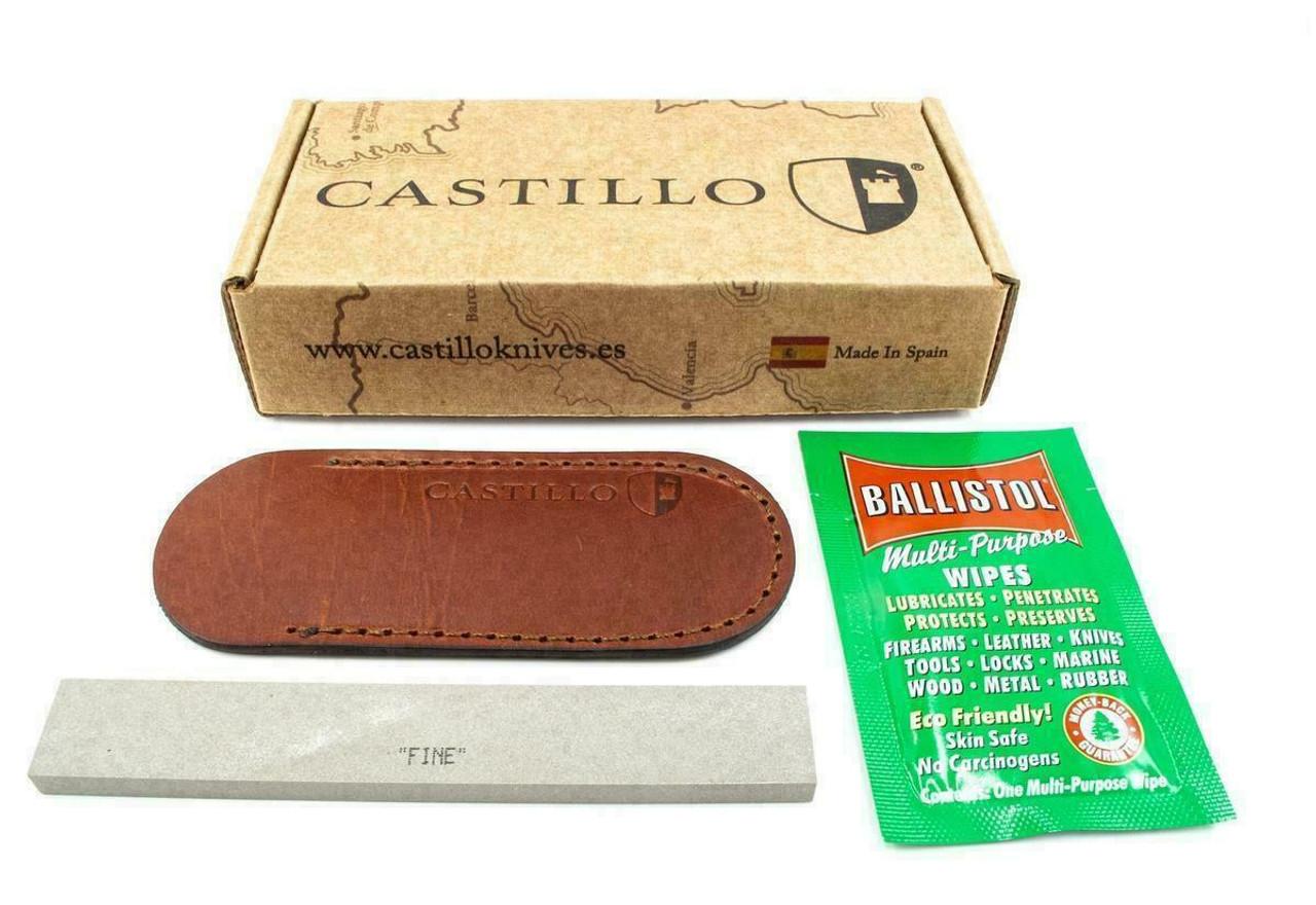 "Castillo Knives Navaja Lockback Folding, C1CUB, 3"" Satin Sandvik 14C28N Blade, Curly Birch Wood Handle"