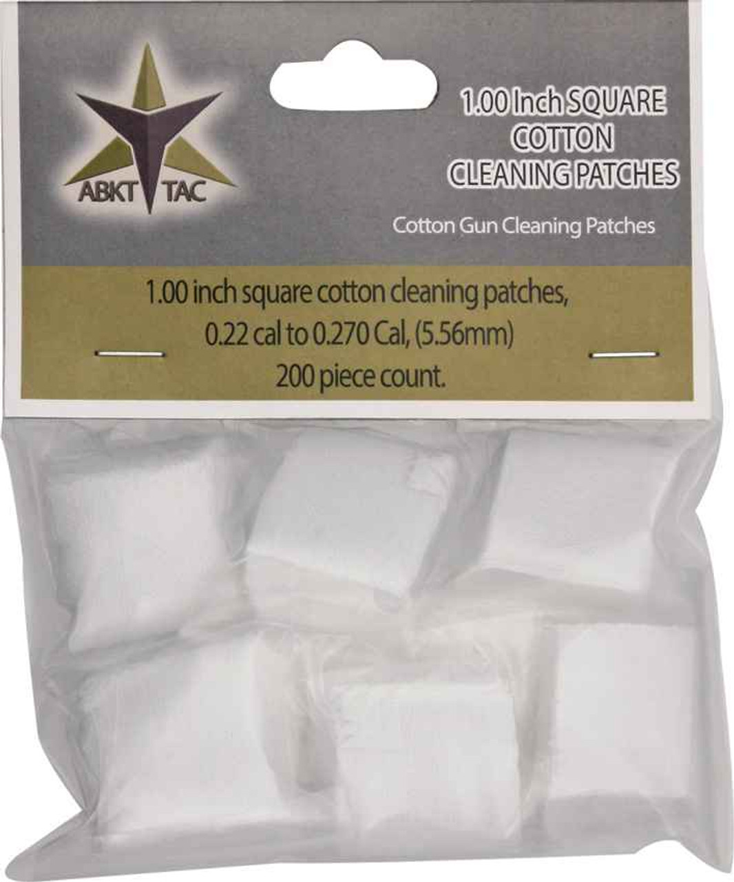 ABKT AB0051 Tac Square Cotton Cleaning Patches 200 Piece Count, Designed for 0.22 cal. to 0.270 cal.