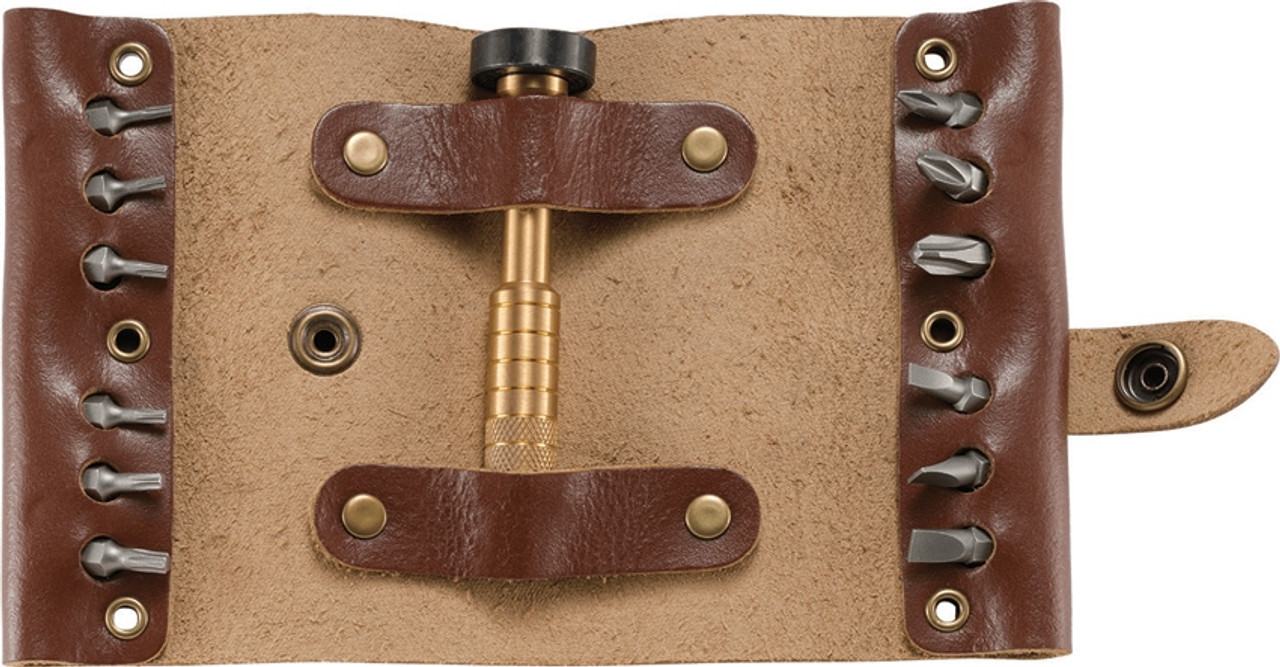 CRKT 9911 Hex Bit Driver Tool Roll, Brown Leather Roll