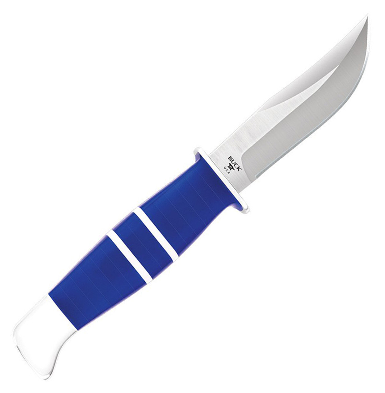 "Buck 212 Fixed Ranger 0212BLSLE- 2021 Legacy Collection,  3.63""W2 Steel Satin Plain Blade,  Blue & White Lucite"