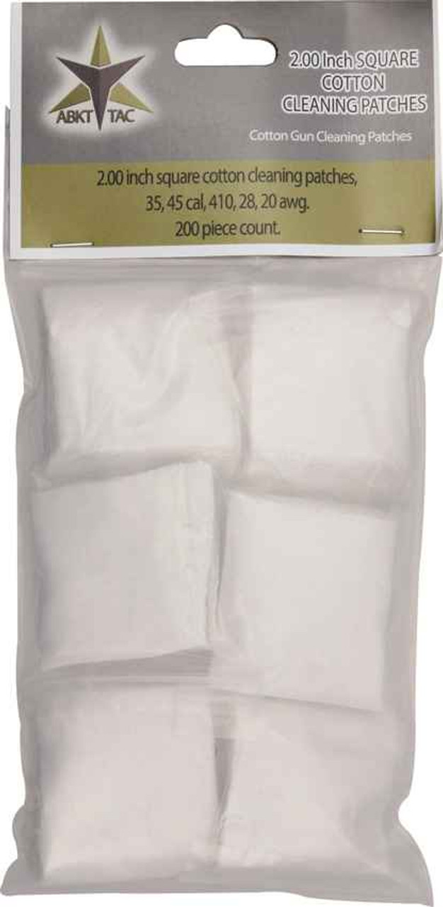ABKT AB0053 Tac Square Cotton Cleaning Patches 200 Piece Count, Designed for 35, 45 cal, 410, 28, 20 awg.