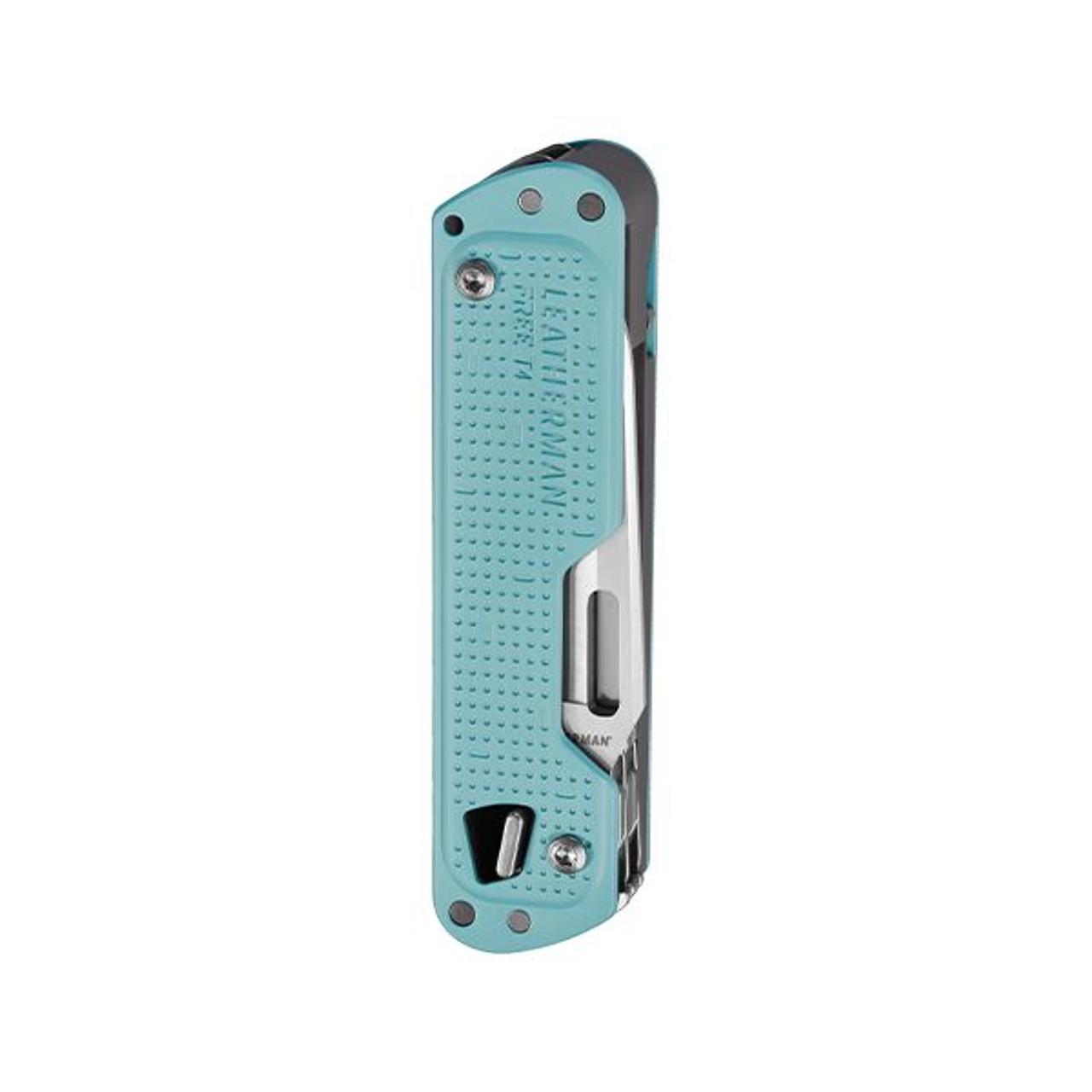 "Leatherman Free T4 832865, 2.2"" 420HC SS Plain Blade, 12 Tools, Arctic Aluminum Handle"