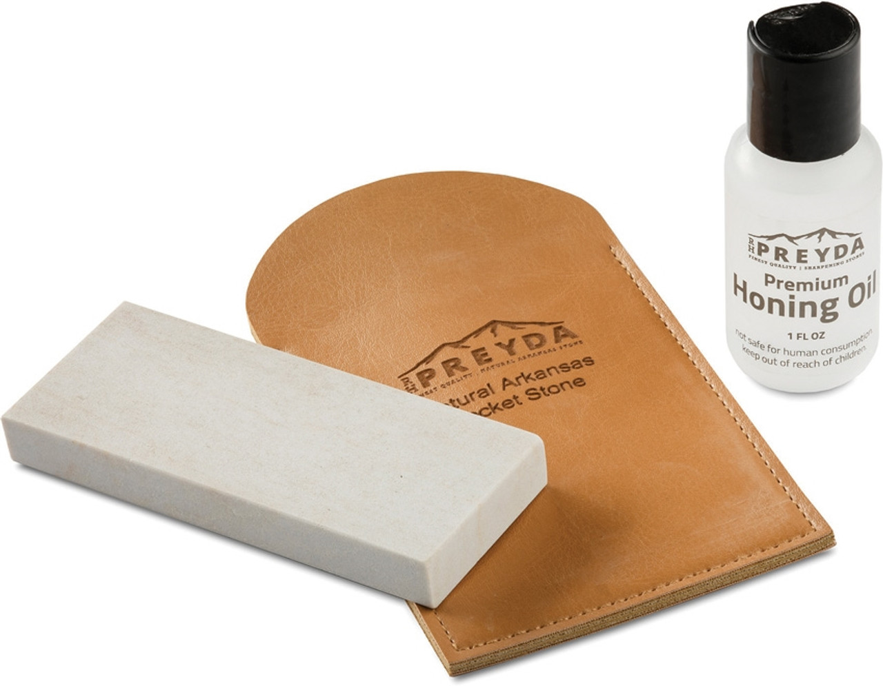 RH Preyda Arkansas Stone Pocket 30497, Brown Leather Sleeve and Honing Oil