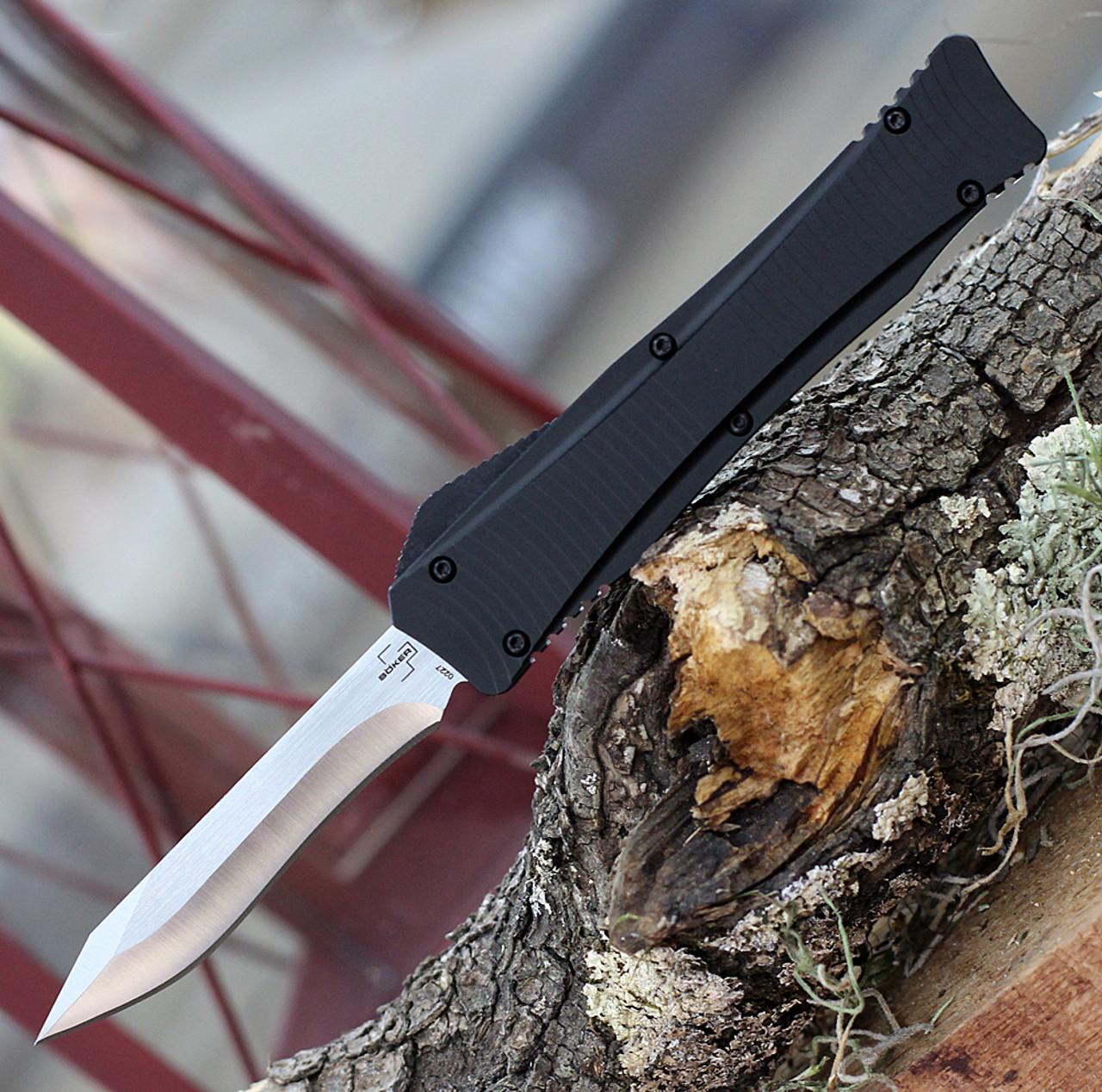 """Boker Plus Falcon D2 06EX225, 3.35"""" D2 Steel Two-tone Plain Blade, Black Aluminum Handle"""