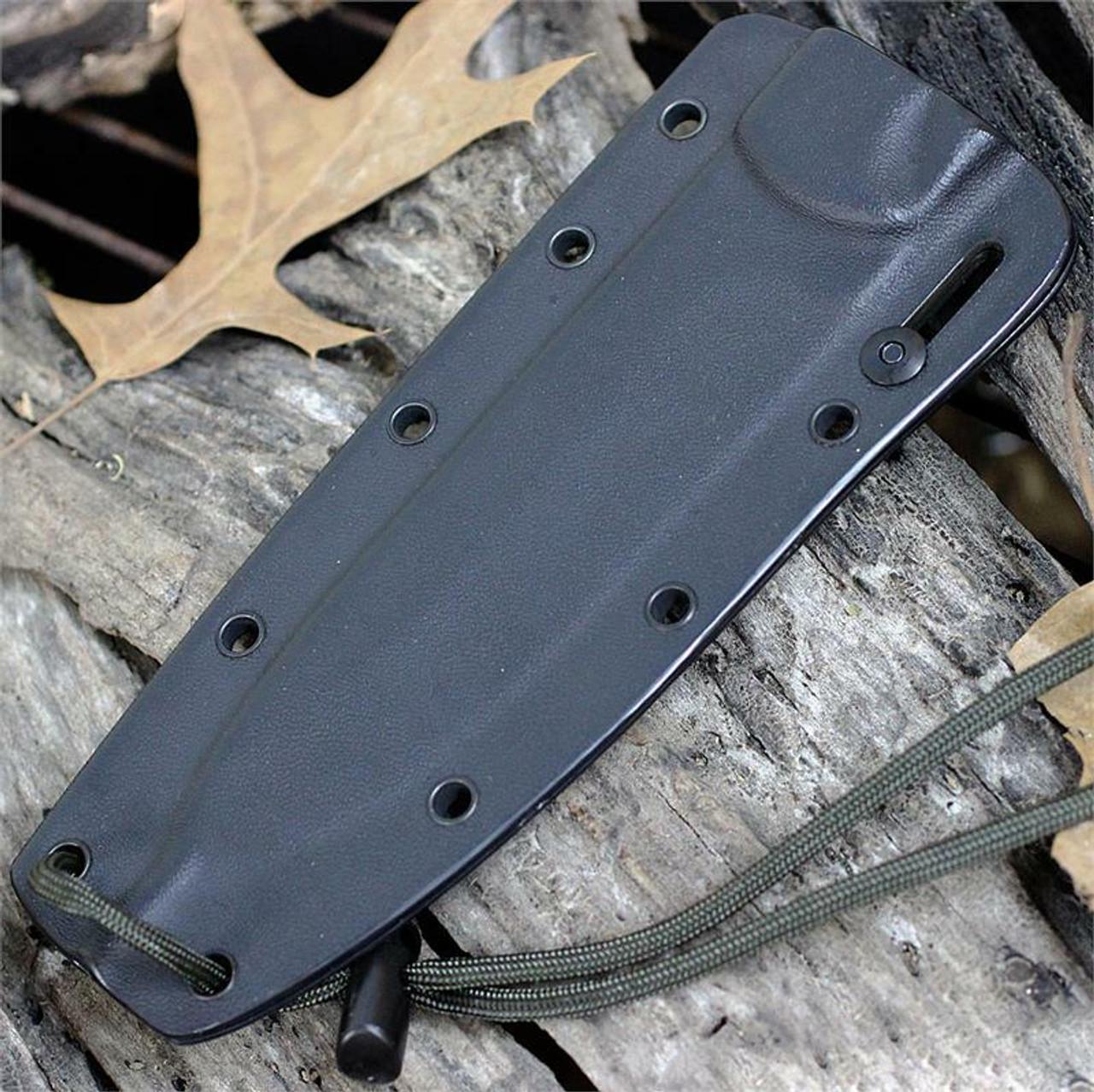 ESEE Knives Combat Tactical CM6-TG-M, Tactical Gray Plain Blade, Micarta Handle, Black Kydex Sheath and Clip Plate