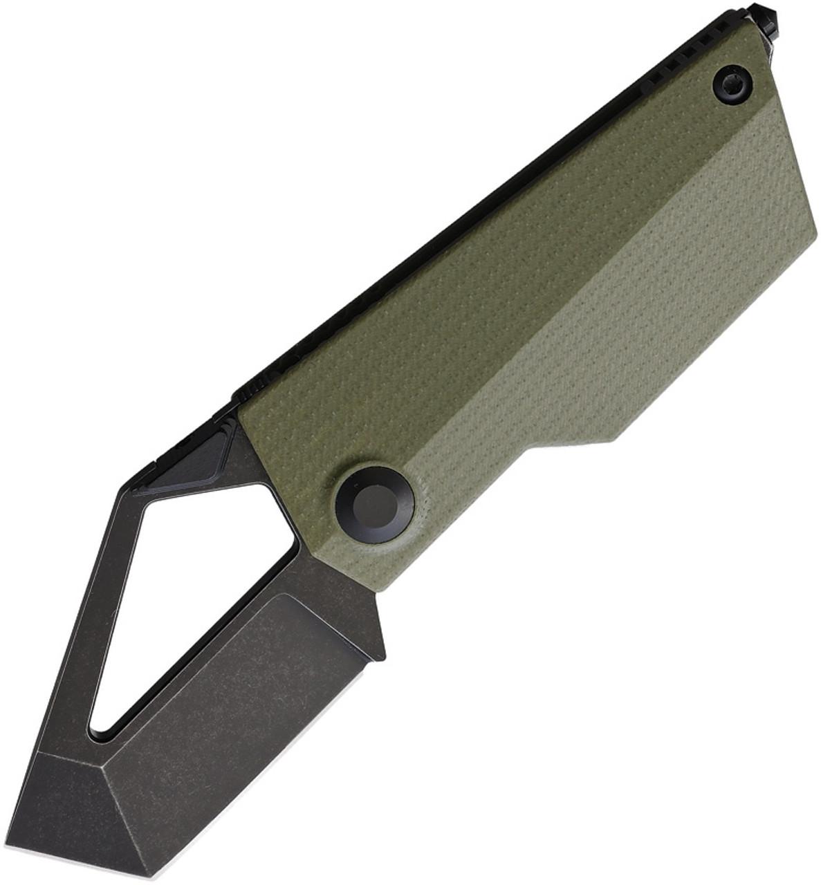 "Kizer Cutlery Cyberblade Folding Knife KIV2563A1, 2.1"" Bohler M390 Black Plain Blade, Green G-10 Handle"