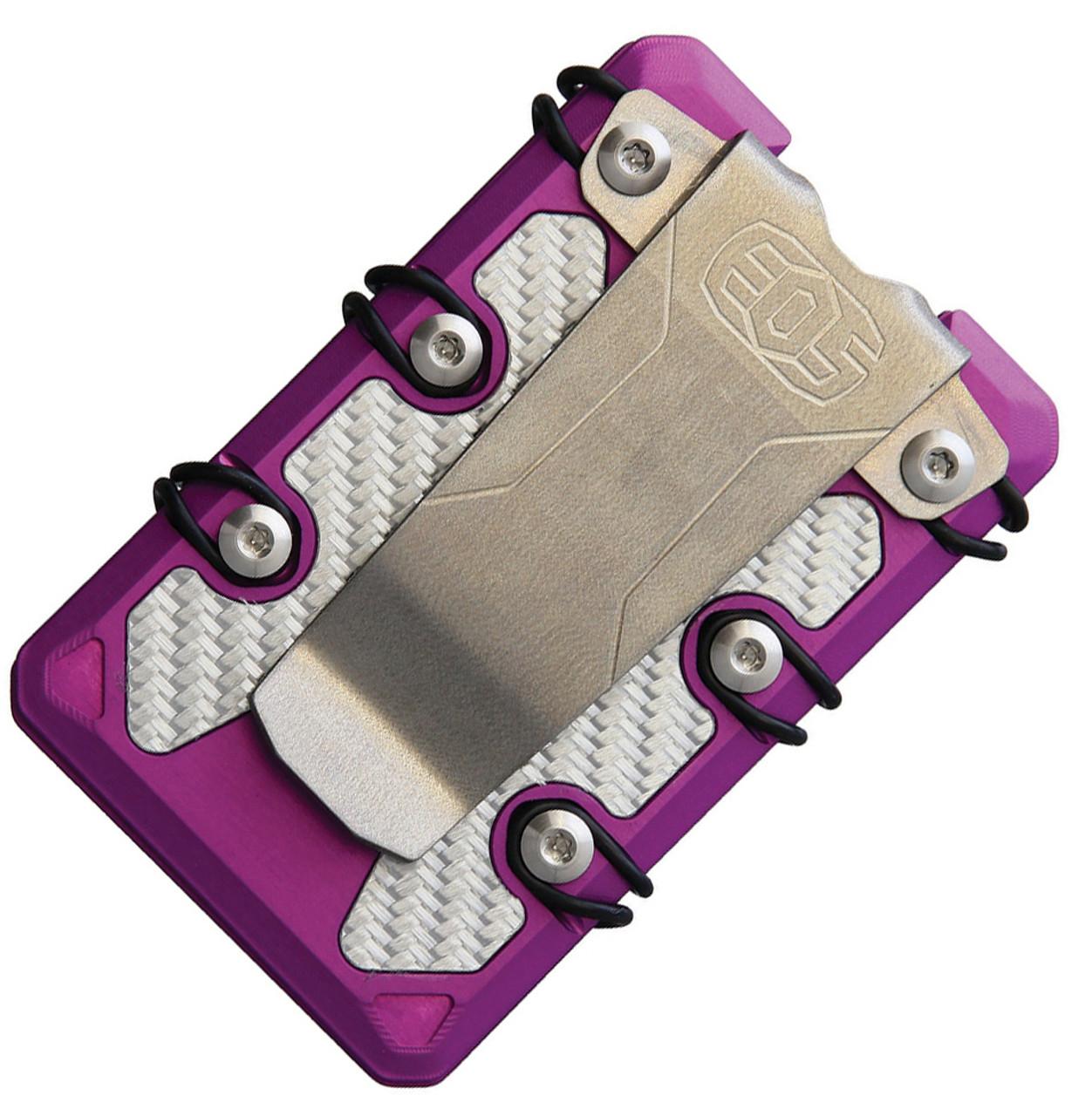 EOS 3.0 Lite Wallet EOS068, Purple Aluminum Construction, Silver Anodized Hardware