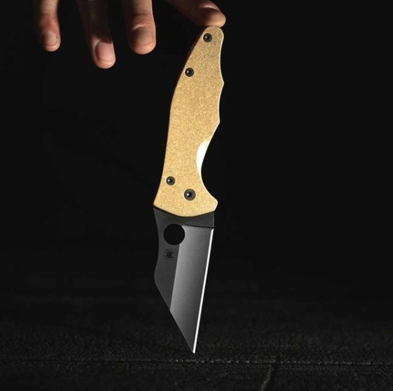 Flytanium Stonewahsed Brass Scales - for Spyderco Yojimbo Knife
