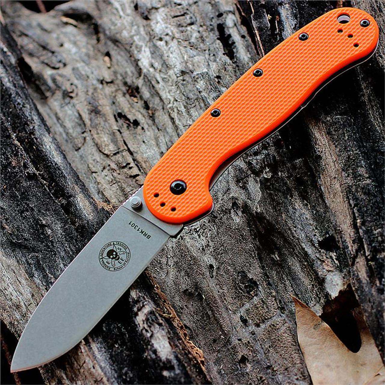 BRK Avispa Folder, Orange Nylon handles, Stonewash AUS-8 Blade, Plain Edge, Design by Esee Knives