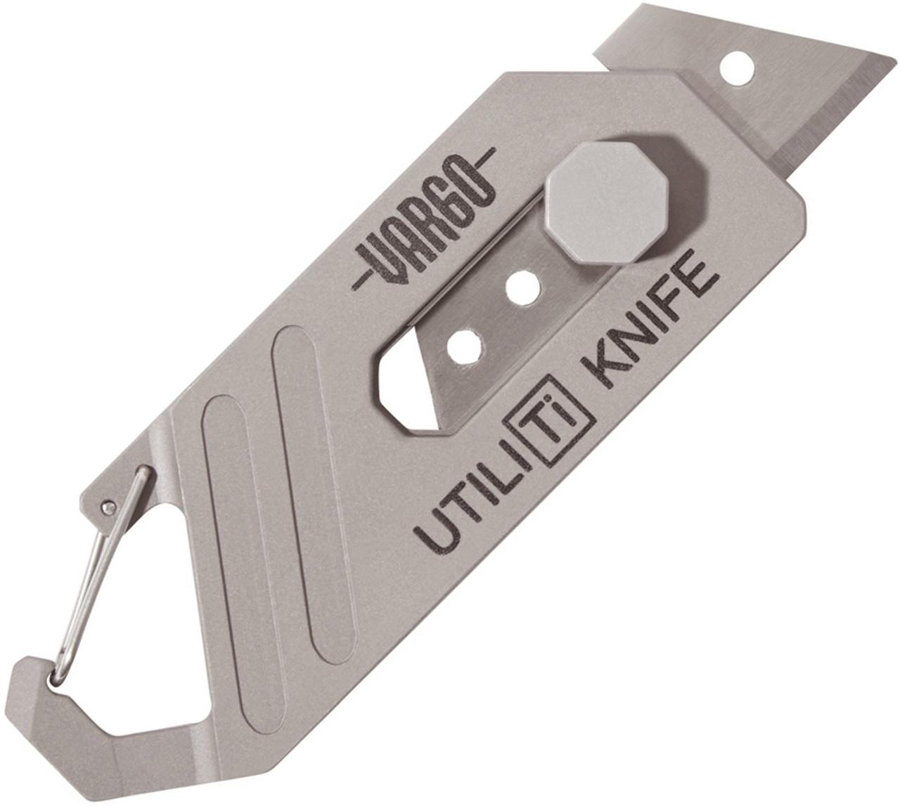 "Vargo Utili Ti Knife - 3"" Titanium Utility Knife with Carabiner (10 Blades)"