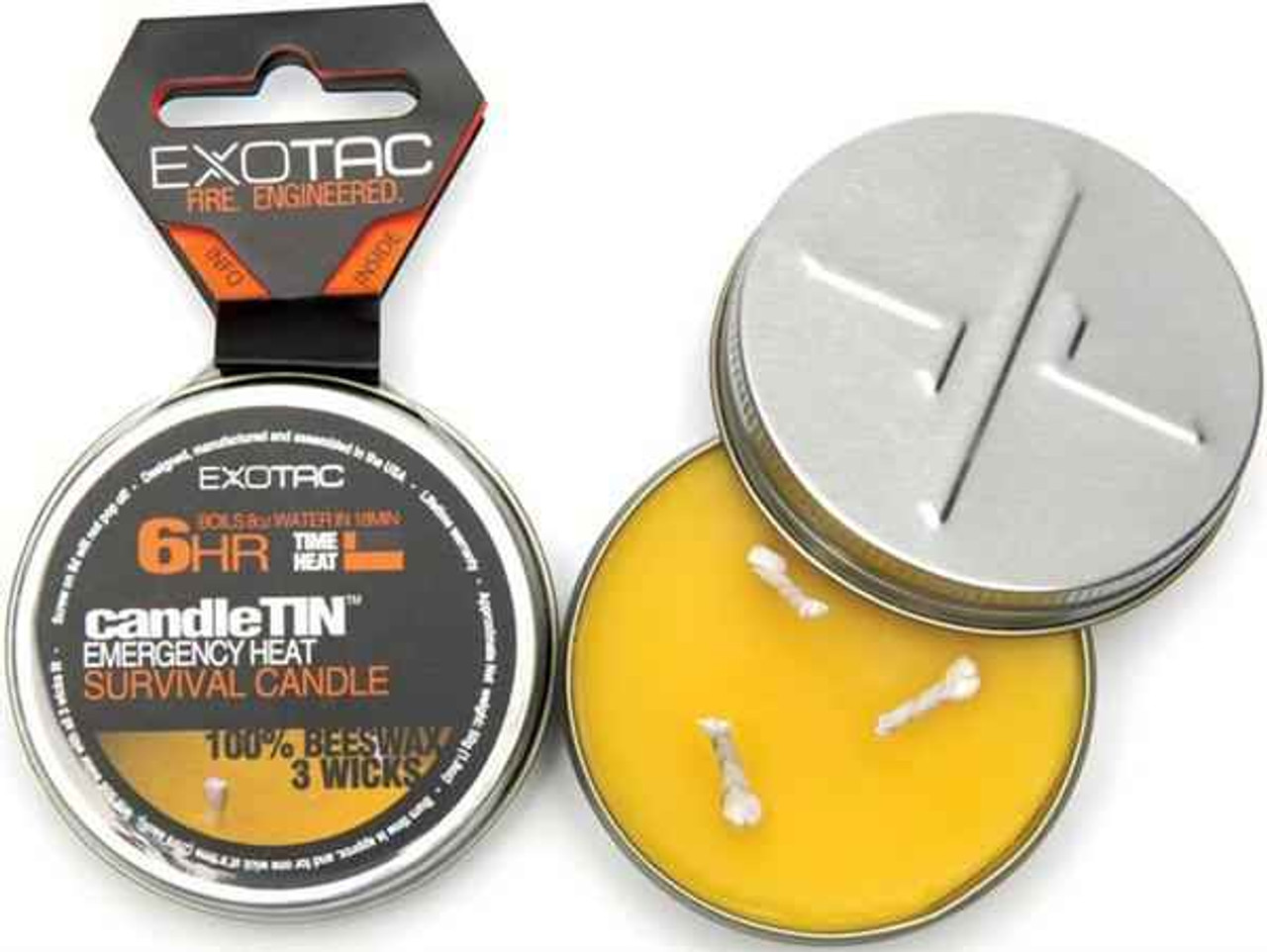 Exotac candleTIN Emergency Heat Survival Candle. Hot burning version. Up to 6 hour burn time
