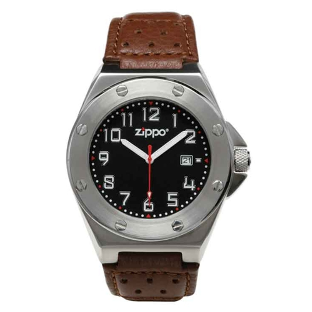 Zippo Z45009 Sport Watch-Black Face-Brown Leather Band 45009