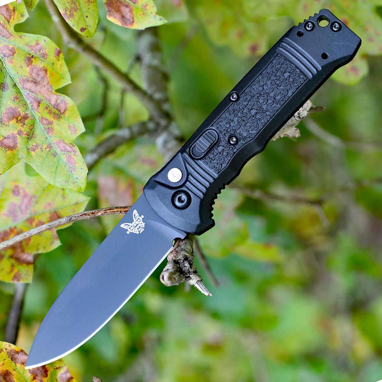 Benchmade 4400BK CASBAH Auto, 3.4 in CPM-S30V Black Plain Blade, Black textured Grivory Handles