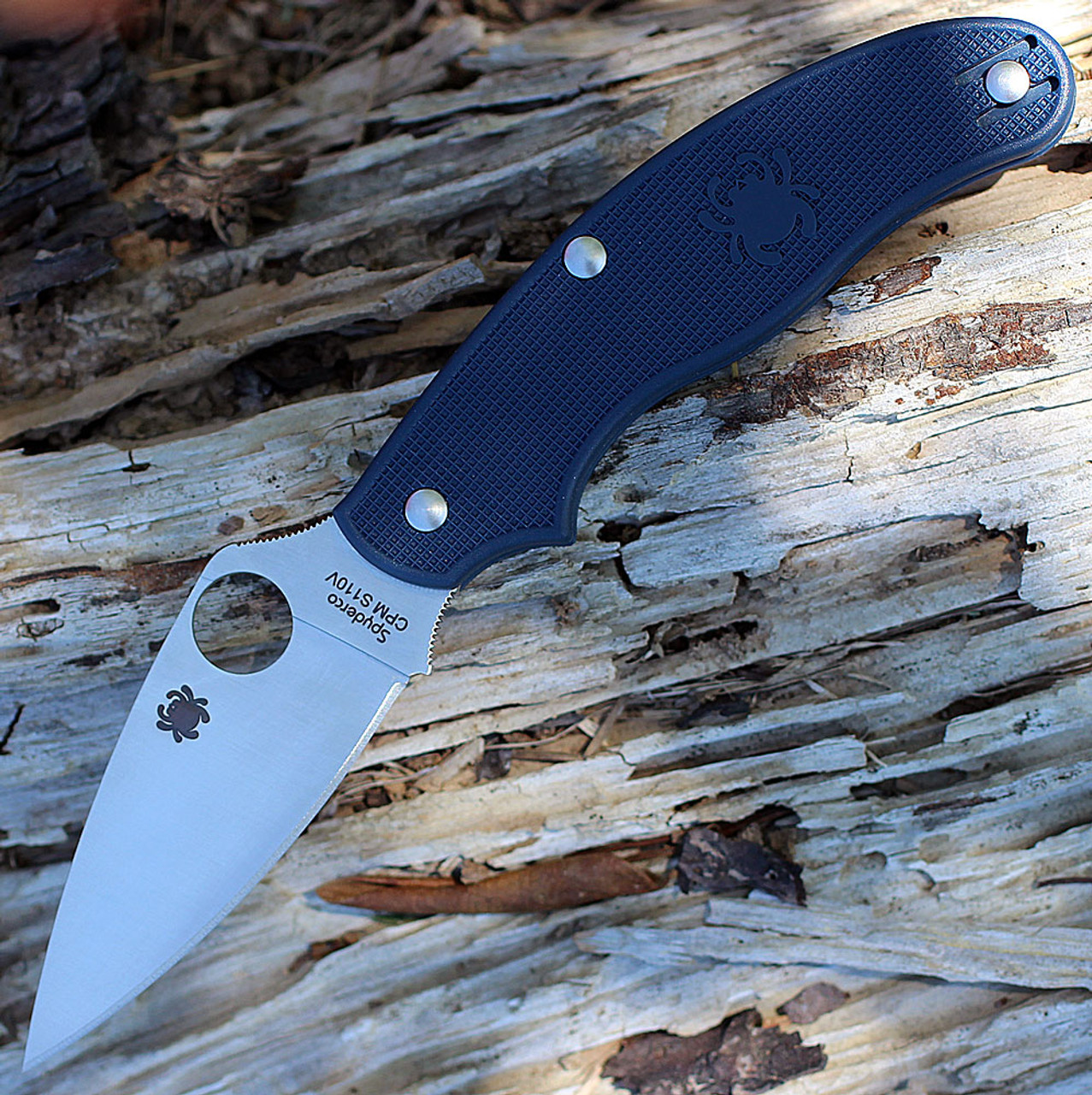 """Spyderco C94PDBL UK PenKnife, 2.95"""" CPM S110V Plain Blade, Dark Blue FRN Handle"""