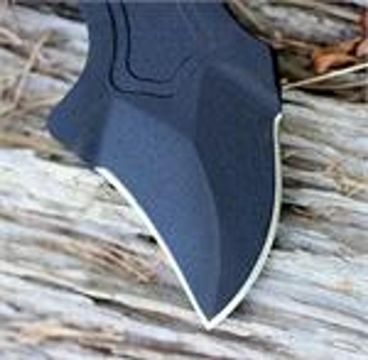 TOPS Knives VI AX, Polished Blade, Black Handles O-Rings, Black Leather Sheath