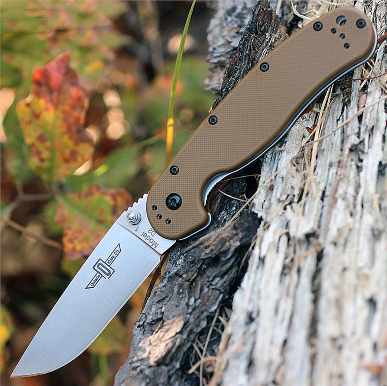 "Ontario RAT Model 1 Folder, 3.5"" D2 Blade Steel, Coyote Brown Handle"