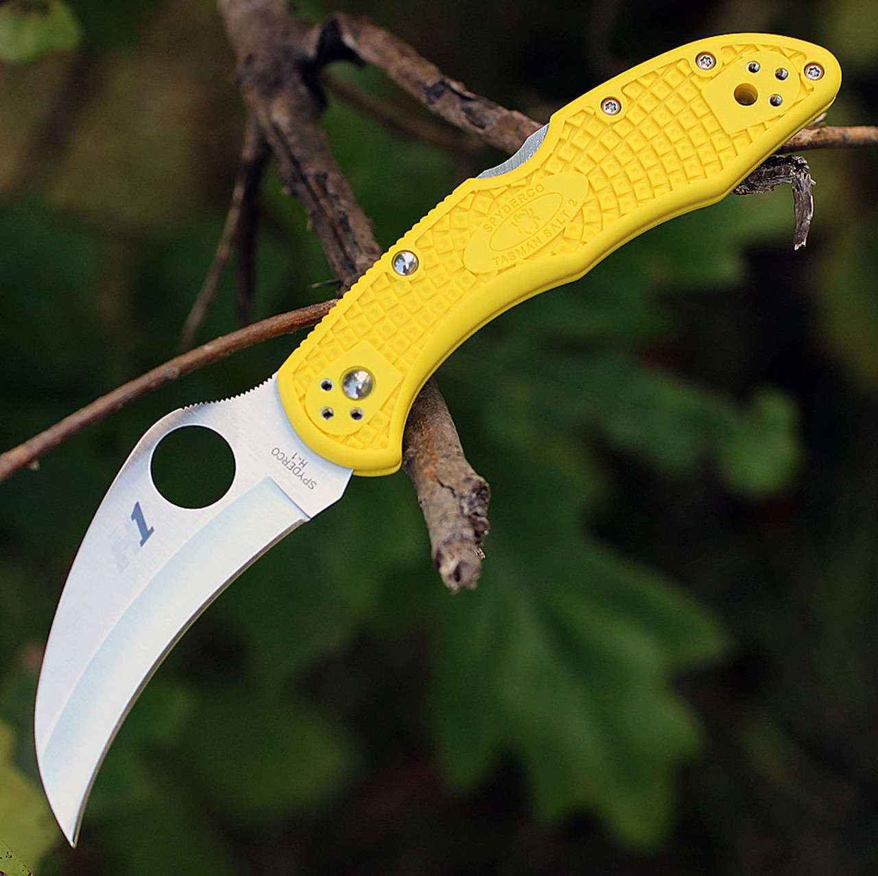 "Spyderco Tasman Salt 2 FRN Yellow C106PYL2, 2.80 "" H-1 Plain Blade"