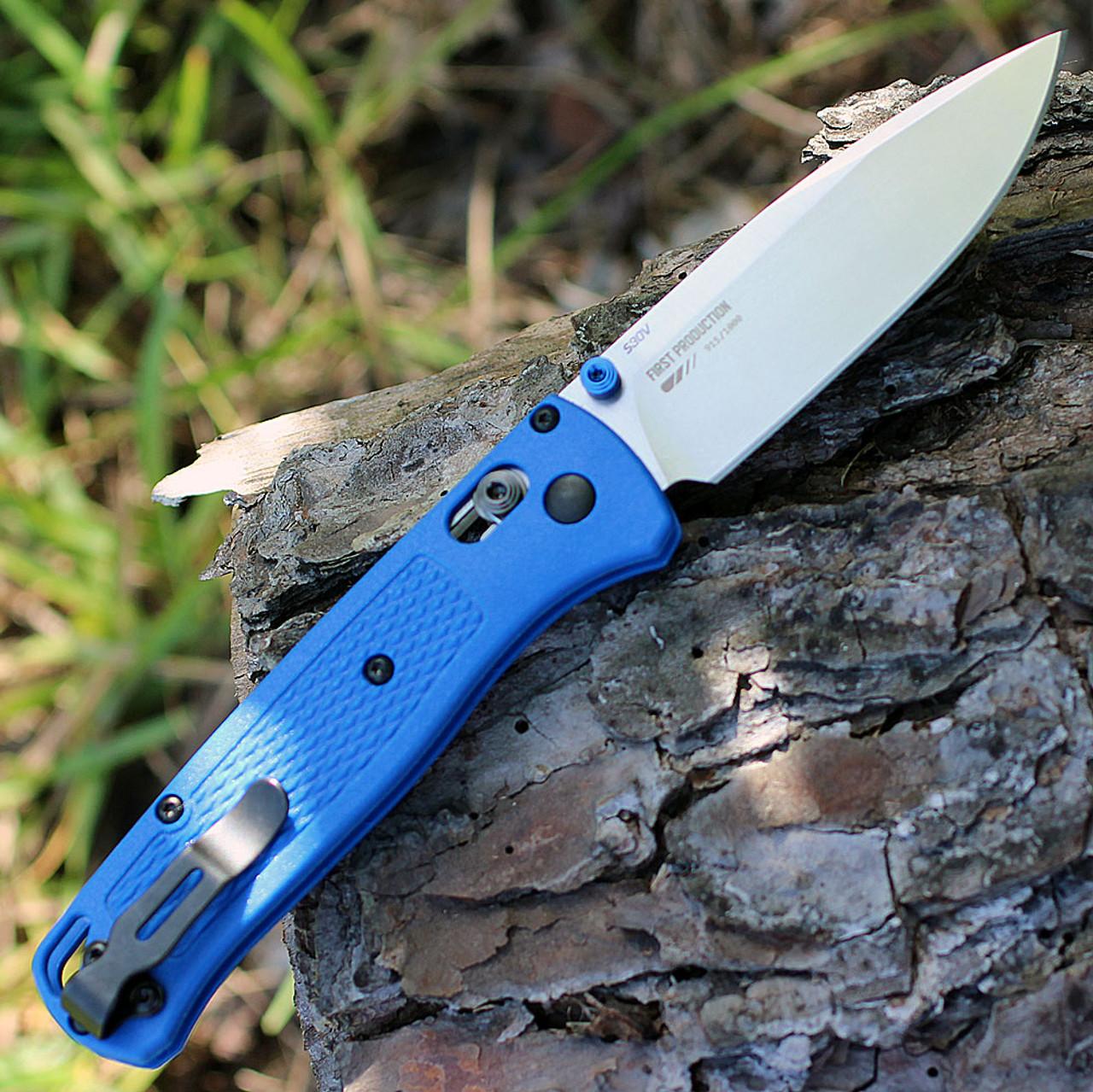 """Benchmade Bugout 535, 3.24"""" CPMS30V Plain Blade, Blue Grivory Handle"""