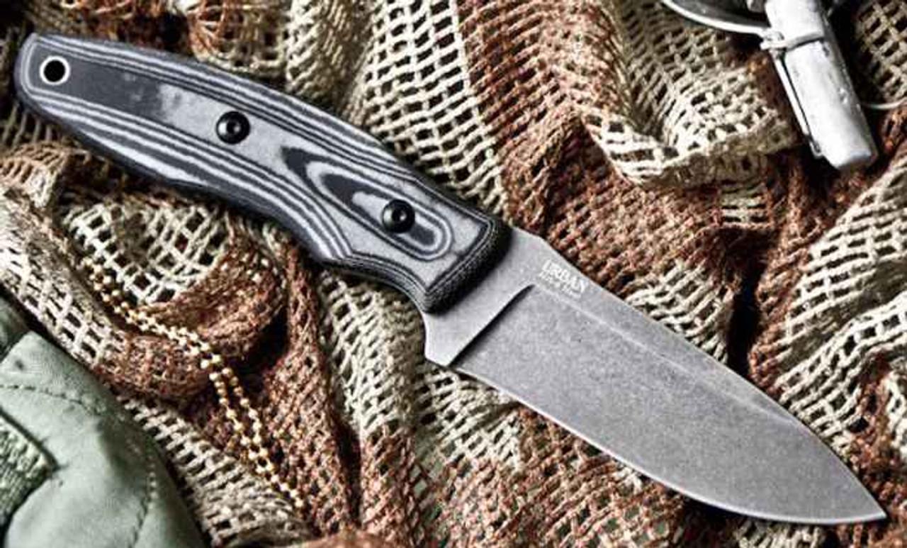 Kizlyar Supreme Urban Fixed Blade, Stonewash AUS-8, Ergonomic Micarta Handle