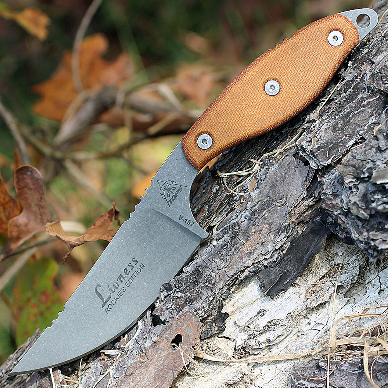 TOPS Knives LION-TBF Lioness Rockies Edition, Tumble Finish, Tan Canvas Micarta Handles