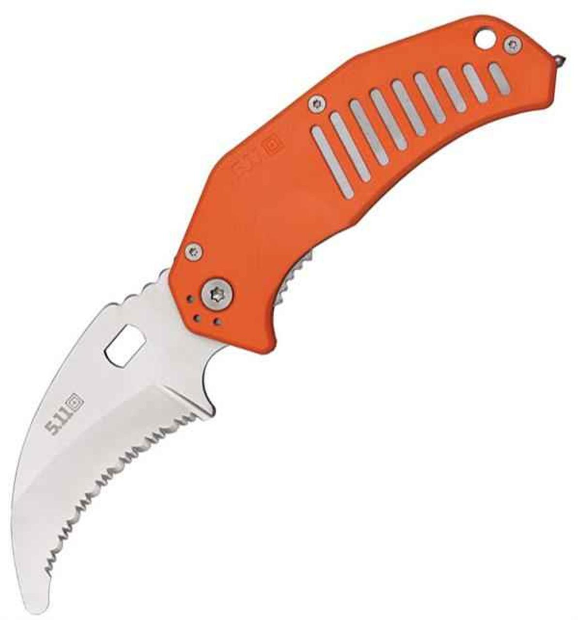 "5.11 Tactical 51086 LMC Curved, 3.25"" AUS-8 Serrated Blade, Orange FRN Handle"