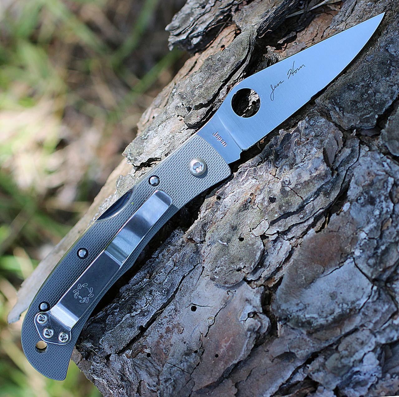 Spyderco Baby Jess Horn G-10 CX08GGYP, 2.60 in VG-10 Plain Blade, Sprint Run