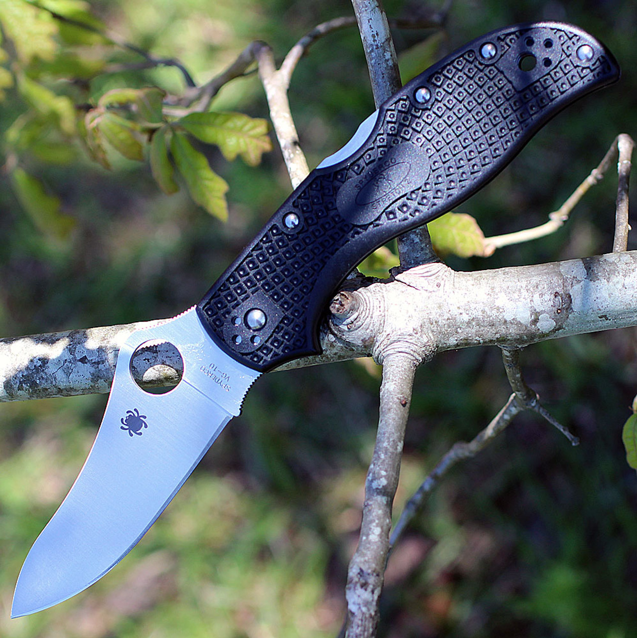 "Spyderco C90PBK2 Stretch 2 Lightweight, 3.45"" VG-10 Plain Blade, FRN Handles"