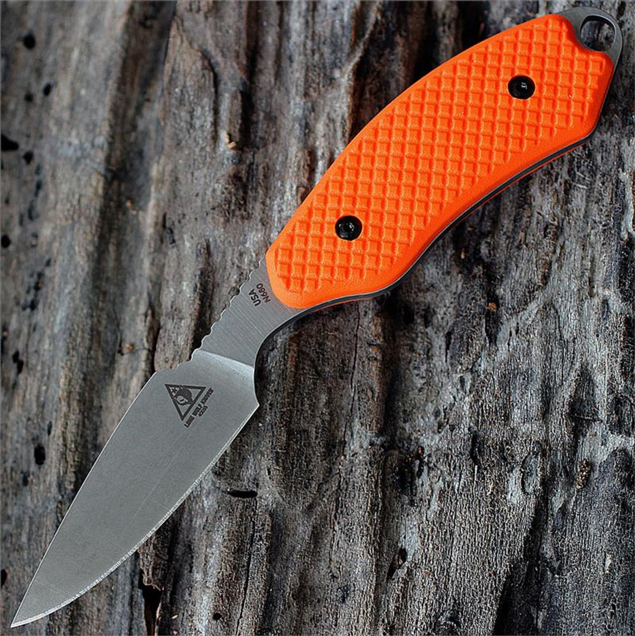 Benchmade Lone Wolf Mountainside Caper 2, Orange Santoprene, Leather Sheath
