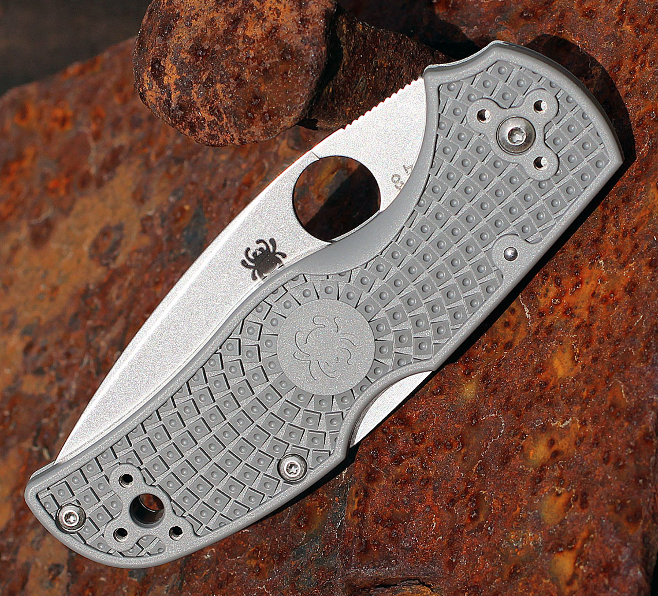 """Spyderco C41PGY5 Native 5, 3"""" Maxamet Blade, Grey FRN Handle"""