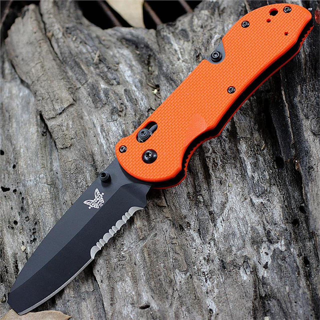 "Benchmade BM916SBK-ORG Triage Utility Knife, 3.5"" N680 SS Combo Blade, Orange G10 Handle"