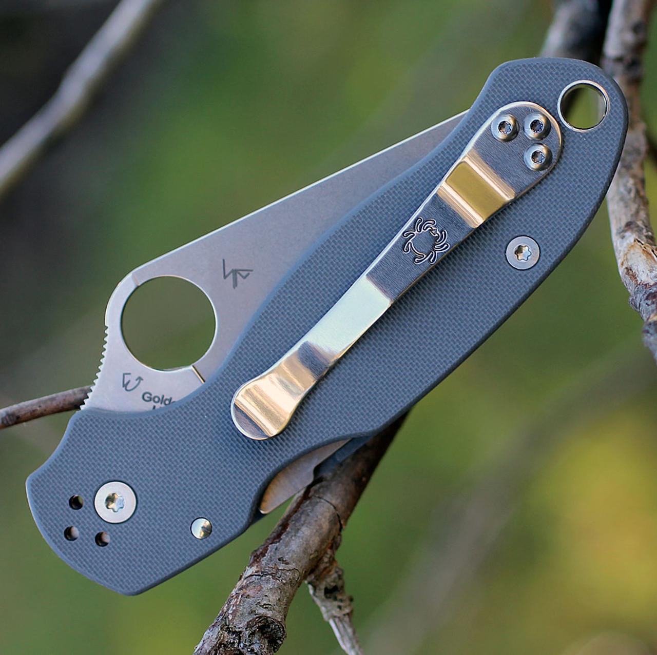 Spyderco Para Military 3 G-10 Dark Gray C223GPDGY, 2.95 in. Maxamet Plain Blade