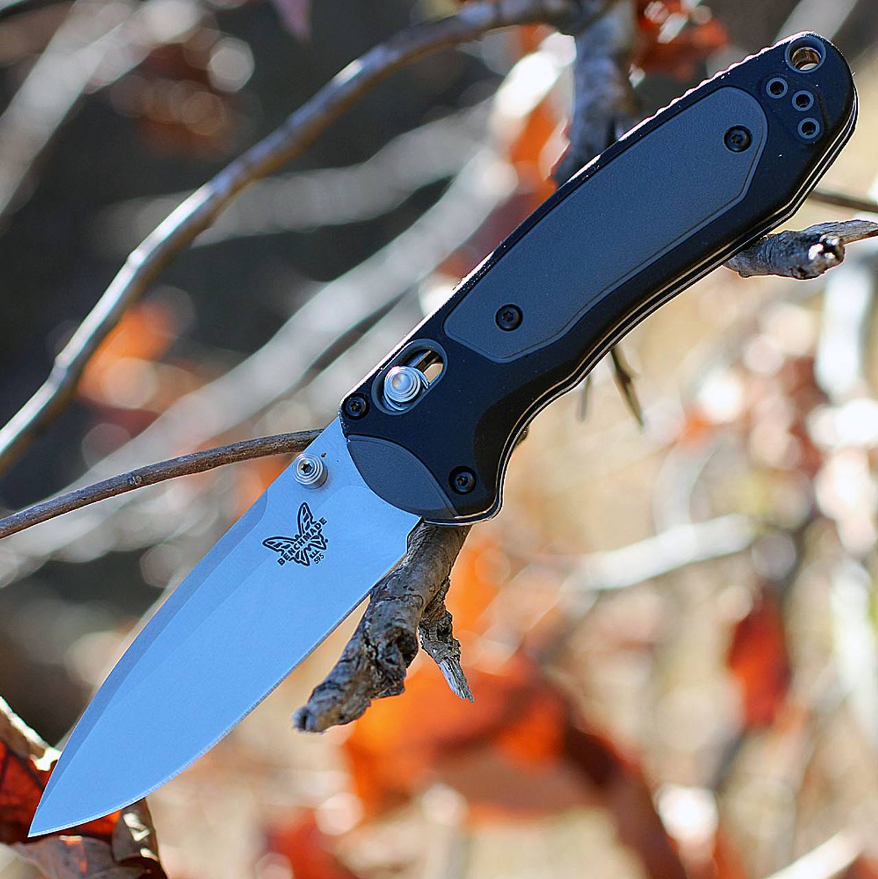 """Benchmade 595 Mini Boost, AXIS Assist, 3.1"""" CPM-S30V Plain Blade, Black/Gray Grivory Handle"""