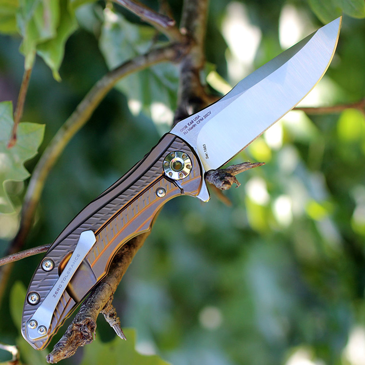 Zero Tolerance 0609 RJ & Matt Martin, 3.4 in CPM 20CV Plain Blade, Bronze Ti Anodized Handle