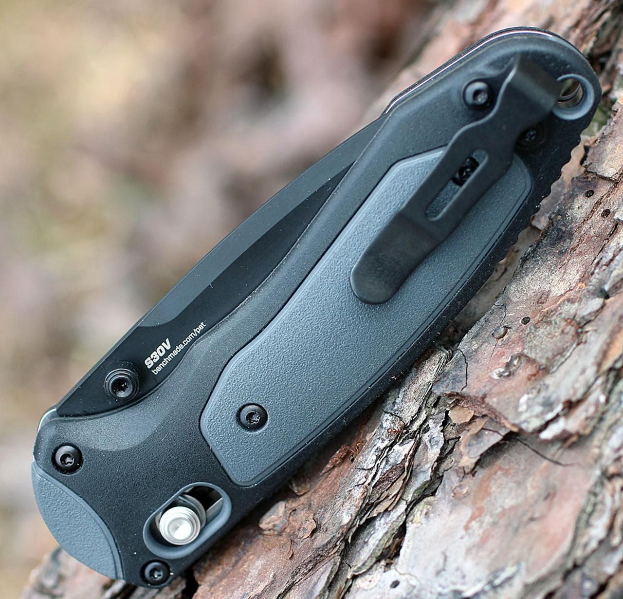 "Benchmade 595BK Mini Boost, 3.1"" CPM-S30V Plain Blade, Black/Gray Grivory Handle"