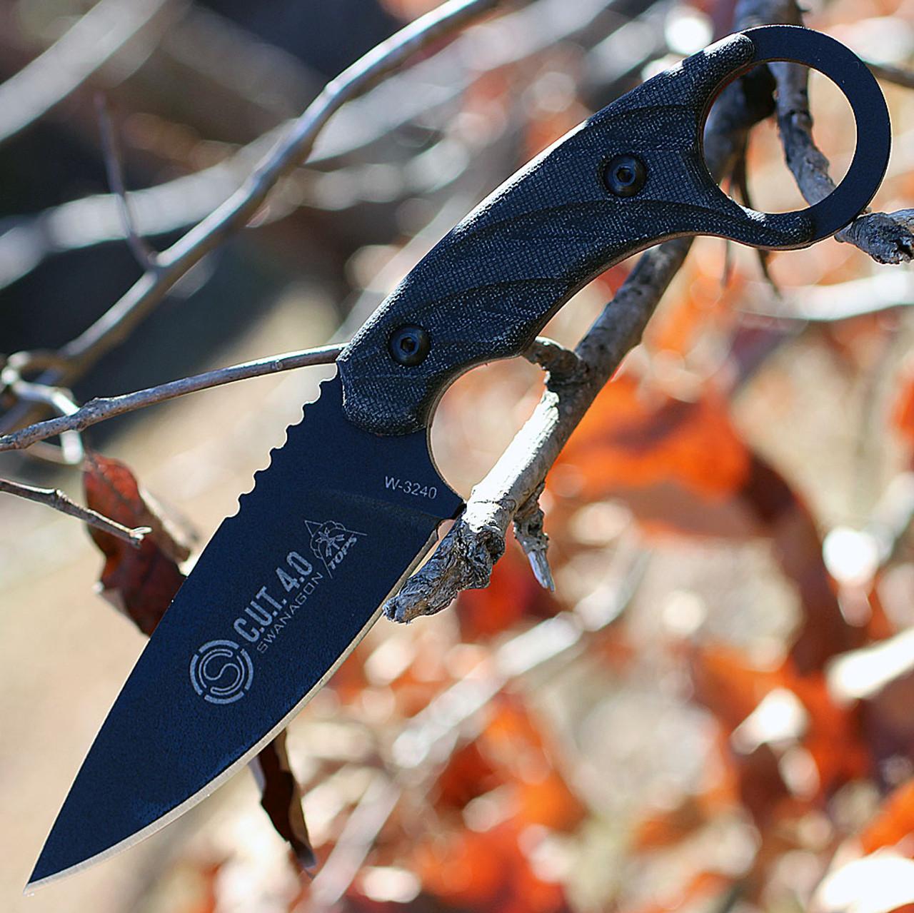 Tops Knives CUT-40 Combat Utility Tool Blackout Edition, Joshua Swanagon Karambit Style Fixed Blade