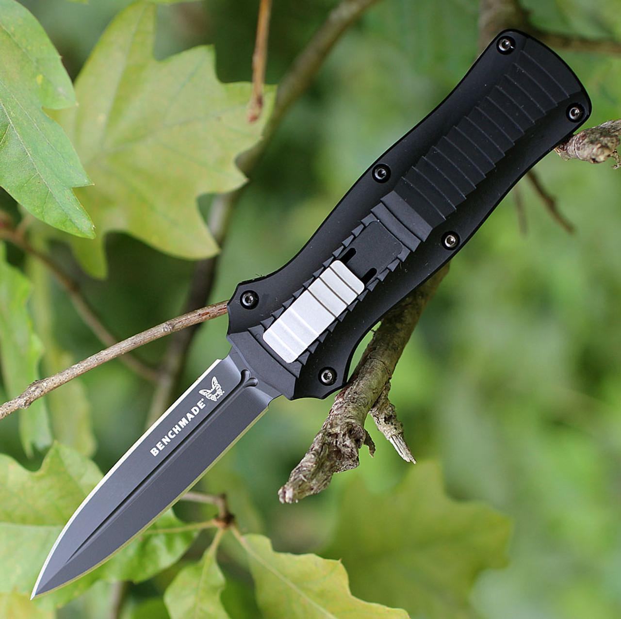 Benchmade Auto Mini Infidel OTF, 3350BK, 3.10 in. D2 Stainless Double Edge Blade, Aluminum Handles, Black Plain Edge