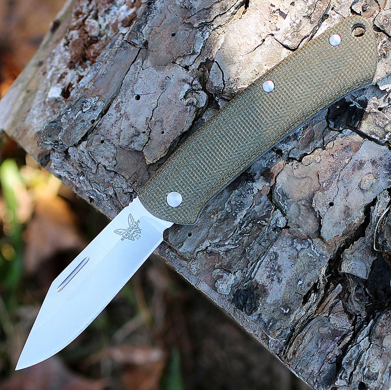 "Benchmade 318 PROPER, 2.82"" CPM-S30V Satin Plain Blade, Green Canvas Micarta Handles"
